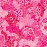Hand getrokken naadloos patroon met bloemenelementen Royalty-vrije Stock Foto