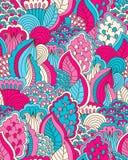 Hand getrokken naadloos patroon met bloemenelementen Stock Afbeeldingen