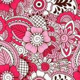 Hand getrokken naadloos patroon met bloemenelementen Royalty-vrije Stock Fotografie