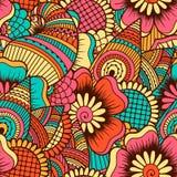 Hand getrokken naadloos patroon met bloemenelementen Royalty-vrije Stock Afbeelding