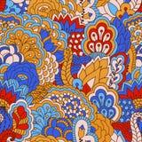 Hand getrokken naadloos patroon met bloemenelementen Stock Foto's