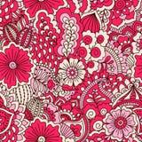 Hand getrokken naadloos patroon met bloemenelementen Stock Afbeelding