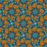 Hand getrokken naadloos patroon met bloemenelementen Kleurrijke etnische achtergrond Royalty-vrije Stock Afbeeldingen