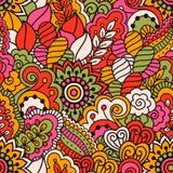 Hand getrokken naadloos patroon met bloemenelementen Kleurrijke etnische achtergrond Stock Foto