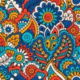 Hand getrokken naadloos patroon met bloemenelementen Kleurrijke etnische achtergrond Stock Fotografie