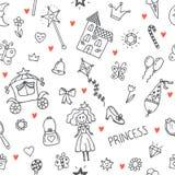 Hand getrokken naadloos patroon met de krabbelontwerp van het prinsesmeisje ele Royalty-vrije Stock Fotografie