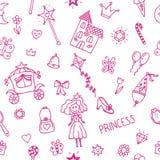 Hand getrokken naadloos patroon met de krabbelontwerp van het prinsesmeisje ele Stock Afbeeldingen