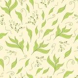 Hand getrokken naadloos patroon met groen theeblad Royalty-vrije Stock Fotografie