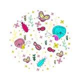 Hand getrokken naadloos patroon met insecten Stock Afbeelding