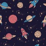 Hand getrokken naadloos patroon met Jupiter, Mars, Saturn, de planeten van Neptunus, maan en vliegende raketten stock illustratie