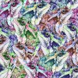 Hand getrokken naadloos patroon met kikkers stock fotografie