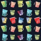 Hand getrokken naadloos patroon met kleurrijke koppen en mokken stock illustratie