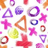 Hand getrokken naadloos patroon met verschillende cijfers stock afbeeldingen