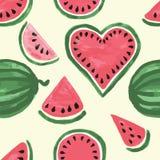 Hand getrokken naadloos patroon van watermeloenwiggen Leuke verse vruchten voor de zomerachtergrond Stock Foto's