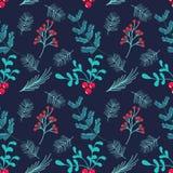 Hand getrokken naadloos vectorpatroon De winter als thema gehade achtergrond stock illustratie