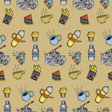 Hand getrokken naadloos vectorpatroon Keuken, voedselachtergrond Stock Foto