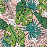 Hand getrokken naadloos vectorpatroon met tropische palmbladen en exotische bloemen op roze achtergrond royalty-vrije illustratie