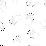 Hand getrokken naadloos vectorpatroon met vrouwenwapens Stock Foto