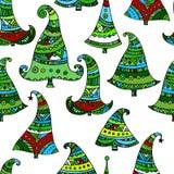 Hand getrokken naadloze Kerstmisbomen Vector Illustratie