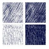 Hand getrokken naadloze witte en cyaan eenvoudige patronen stock illustratie