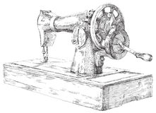 Hand getrokken naaimachine Royalty-vrije Stock Foto