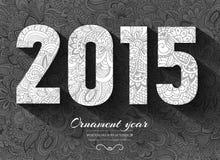Hand getrokken nieuw jaar 2015 ornament als achtergrond Royalty-vrije Stock Foto's