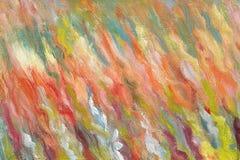 Hand getrokken olieverfschilderij Penseelstreken van heldere kleuren Eigentijds art. Kleurrijk Canvas Het werk van een begaafde s Royalty-vrije Stock Foto's