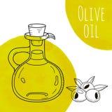 Hand getrokken olijfoliefles met groene waterverfvlekken Stock Fotografie