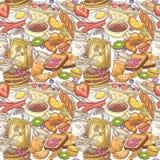 Hand Getrokken Ontbijt Naadloos Patroon met Bakkerij, Vruchten en Melk Gezonde voedselachtergrond royalty-vrije illustratie