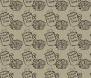 Hand getrokken ontbijtillustratie Vector naadloos patroon Stock Foto