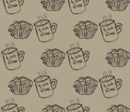 Hand getrokken ontbijtillustratie Vector naadloos patroon Royalty-vrije Stock Fotografie