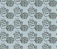Hand getrokken ontbijtillustratie Vector naadloos patroon Royalty-vrije Stock Afbeeldingen