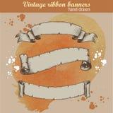Hand getrokken oude linten geplaatst banners Stock Fotografie