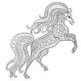 Hand getrokken paard voor antistress Kleurende Pagina met hoge details Stock Foto's