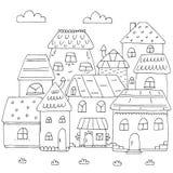 Hand getrokken pagina voor het kleuren van boek met heel wat huizen Een kleine leuke stad in krabbelstijl Rebecca 36 stock illustratie