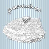 Hand getrokken pannekoeken met boter en bosbes Stock Foto's