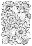Hand getrokken patronen met bloemen Overladen patronen met abstracte bloemen en bladeren De bloemenachtergrond van de krabbel vector illustratie