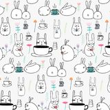 Hand Getrokken Patroon Leuk Bunny With Coffee And Flower vector illustratie