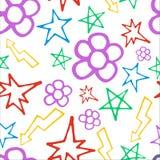 Hand getrokken patroon met bloemen en bliksem Stock Foto