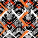 Hand getrokken patroon met geborstelde zigzaglijn. Stock Fotografie