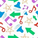 Hand getrokken patroon met muziekelementen Stock Foto