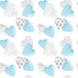 Hand getrokken patroon naadloze waterverf en grafische harten met slagen voor Kerstmis, de dag van Valentine, Moederdag of huweli royalty-vrije illustratie