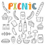 Hand getrokken picknickillustratie Inzameling van diverse schetsen F Stock Afbeelding