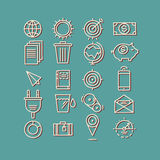 Hand getrokken pictogrammen concepten bedrijfswebmedia seo Stock Afbeeldingen