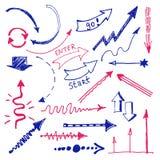 Hand getrokken pijlen Vector ontwerpelementen Infographic Stock Afbeelding