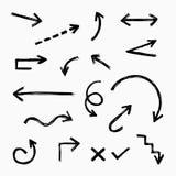 Hand getrokken pijlreeks vector illustratie