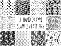 Hand Getrokken Polka Dot Patterns Collection Royalty-vrije Stock Afbeeldingen