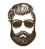 Hand getrokken portret van de mens met baard Hipster, zonnebrilschets Uitstekende vectorillustratie Stock Foto