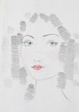 Hand getrokken illustratie van mooie vrouw Royalty-vrije Stock Afbeeldingen