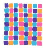 Hand getrokken purpere roze blauwe oranje het mozaïekachtergrond van het tellersneon stock illustratie